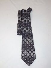Silver,black and grey polyester 'Canda' tie with a square pattern.