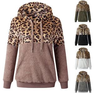 Womens Leopard Print Winter Warm Fluffy Fleece Jumper Hooded Pullover Sweatshirt