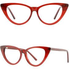 Large Wide Womens Cat Eye Frame Plastic Spring Hinges RX Glasses Translucent Red