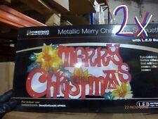 "LED ""MERRY CHRISTMAS"" silhouette JOB LOT 2pc. WAREHOUSE CLEARANCE SALE"