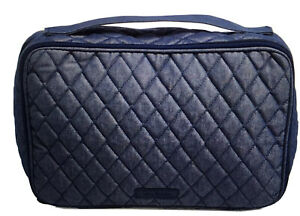 Vera Bradley Midnight Blue Denim LARGE BLUSH & BRUSH MAKEUP CASE Travel Bag