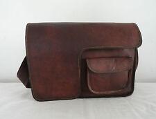"16"" Real Brown Leather Messenger Bag Macbook Laptop Satchel School Crossbody Bag"