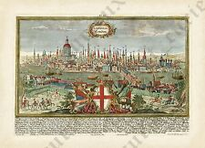 London old Baroque panorama plan map 1720 Londinium Londinum art poster / print