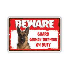 Beware Guard German Shepherd Dog On Duty Novelty Aluminum Metal 8x12 Sign