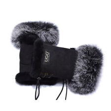UGG Fingerless Sheepskin Leather Gloves Black Womens (cindy)