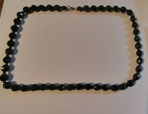 Vintage Art Deco French Jet Black Glass Faceted Bead Necklace Costume Jewellery