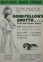 Vintage Restaurant Menu Goodfellows Grotto Main Street Los Angeles 1930-40's