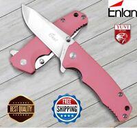 "6"" Enlan Ew106 Folding Knife Tool Survival Pink Pocket Tactical Handle Camping"