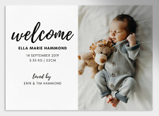 Printable Personalised Birth Announcement Cards | Newborn Welcome Photo Card