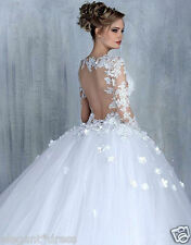 New White/Ivory Lace Bridal Gown Wedding Dress Custom Size 4-6-8-10-12-14-16-18+