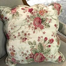 Shabby Chic Throw Cushion / Pillow Cover Pink Floral Green Reverse 45cm