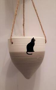 Cat design small hanging plant pot, pottery,  NEW - grey