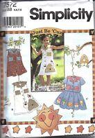 UNCUT Vintage Simplicity Sewing Pattern Girls Dress Romper Top Skirt 7572 OOP FF