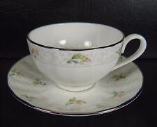 Gorham Lady Anne Cup & Saucer Set Pink Roses Platinum Trim Excellent