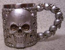 Tankard Goblet Mug Silver Skulls Halloween 12 oz pour NEW Stainless Steel Insert