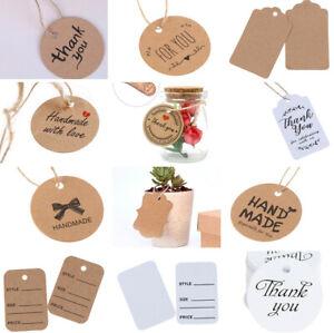100Pcs Thank you Tag Kraft Paper Hang Tag Label with 20m jute Wedding Party  FJ