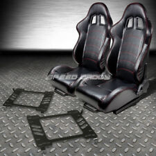 2 PVC LEATHER RED STITCHES RACING SEATS+BRACKET FOR 05-14 FORD MUSTANG/GT S-197