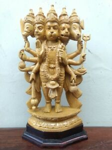 Panchmukhi Sculpture Hanuman Cedarwood Statue Hindu God Garuda Figurine Murti