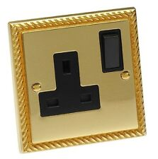 Georgian Brass Rope Style 1 Gang Single 3 Pin UK Wall Socket Switched