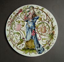 Datiert 1883 Handbemalte, sign. Steingut Platte - stiltypischer Historismus 25cm