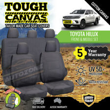 Canvas Seat Covers for Toyota Hilux Dual Cab SR5 SR 2ROWs 07/2015-19 Grey