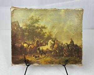 Vintage Canvas Oil Painting Repro Wouterus Verschuur 1812-1874 Horse Market Fair