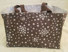 Thirty One Small Utility Tote Keep It Caddy Brown White Flowers Floral