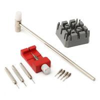 10-tlg. Uhrmacher Werkzeug Set Stiftausdrücker Armbandkürzer Hammer Bandhalter