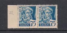 Zone française Baden Mi-Nº 11 plaques ERREUR I ** tamponné