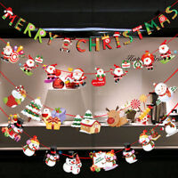 Christmas Party Decor Hanging Snowman Santa Claus Elk Sock Banner Xmas Supplies