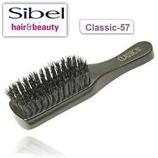 Men Grooming Flat Hair Brush Black 100% Wild Boar By Sibel Professional C-57