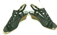 Isola Sandals Shoes Sz 7.5 Gladiator Ankle Strap Wedge Heels Black Leather
