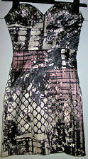 RARE Graphic Print Strapless Tube Satin LOOK Summer Party Dress Size 6