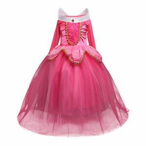 Kids Girls Dress up Pink Sleeping Beauty Aurora Princess Fancy Costume