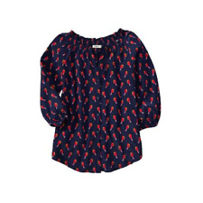 NEW Old Navy Top Blue With Orange Birds 3/4 Sleeve Button Down Blouse Large NWT