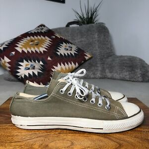 Mens CONVERSE ALL STAR Low Top Plimsole Trainers - Khaki Green/White - UK10/44