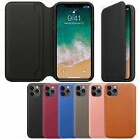 Funda Cuero Genuino Con Tapa Plegable Para Apple iPhone X 8 7 6s 6 Plus
