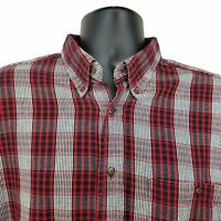 WOOLRICH Men's Long Sleeve Button Front FLANNEL Shirt Sz. LARGE Black Red Plaid