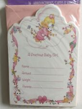 Sealed Vintage Precious Moments Baby Girl Birth Announcements Set of 16 Hallmark