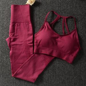 2 Piece Set Workout Clothes for Women Sports Bra+Leggings Gym Sport Set Size