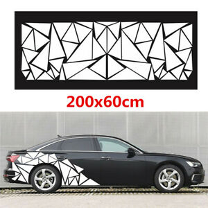 1X 200x60cm Car Body Side Glossy Geometric Triangle Graphics Decal Sticker White