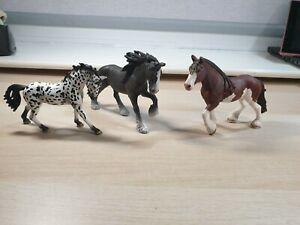 Schleich 3x Horse Bundle - Shire Horses Braided Mane and Knabstrupper/Appaloosa