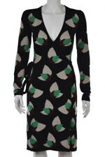 Diane Von Furstenberg Dress Size P Petite Black Wrap Long Sleeve Knee Length