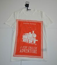 New Burberry Mens Prorsum T-Shirt Off White Orange Graphic Cotton Size M $375