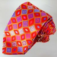 """Holland and Sherry Tie 100% Silk Red Orange Blue Purple 62"""" X 3.5"""" Made In USA"""