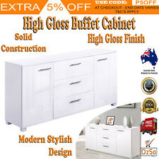 High Gloss Dresser Buffet Table Sideboard Storage Cabinet Cupboard White