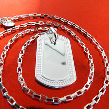 A451 GENUINE REAL 925 STERLING SILVER S/F UNISEX DOG TAG PENDANT NECKLACE CHAIN