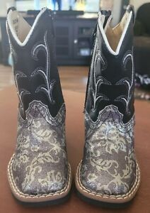 Old West Toddler Girls 4 Western Boots~Floral Glitter~NEW~Cowgirl~Cowboy~VB1010