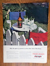 1944 Four Roses Whiskey Ad Grass is Greener on Other Side of Fence 1944 Kodak Ad