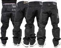 G-King Men's Denim Loose Fit Jeans, Black Coated, Is Time Money, Hip Hop Star